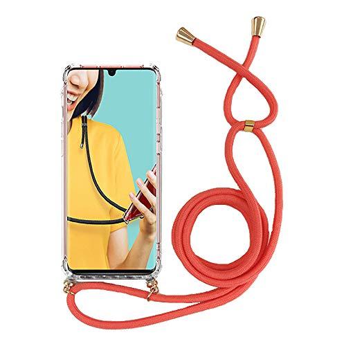 Miagon für iPhone 11 Pro Max (6.5 Zoll) Halskette Hülle,Klar Silikon Handy Schutzhülle Kordel zum Umhängen Necklace Crossbody Cover mit Band Schnur,Rot