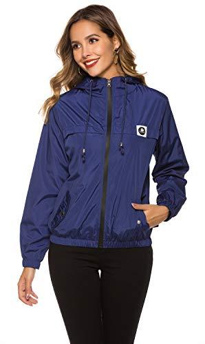 Regenjacke Damen Atmungsaktiv Leicht Sommer Windbreaker Outdoor Wasserdichte Dünne Übergangsjacken mit Kapuze [Navy Blau L]