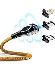 CAFELE マグネット 充電ケーブル iPhone/Android/Type-Cケーブル 3in1ケーブル LEDランプ付き 高耐久ナイロン編み 磁石 防塵 着脱式 MicroUSB+Lightning+Type-Cに対応 2m