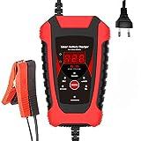 NCBH Cargador baterias Coche Cargador arrancador baterias Coche Cargador de batería Inteligente de 6V/12V con Pantalla LCD para Coche, camión, Motocicleta, cortacésped de césped,Rojo,EU