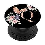 Amante de Loros Negro Acuarela con la Letra Q PopSockets PopGrip: Agarre intercambiable para Teléfonos y Tabletas