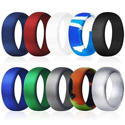 COOLOO Silicone Wedding Ring for Men, 10 Pack Affordable Silicone Rubber Wedding Bands Durable Comfortable Rings, Black White Blue Silver Gray