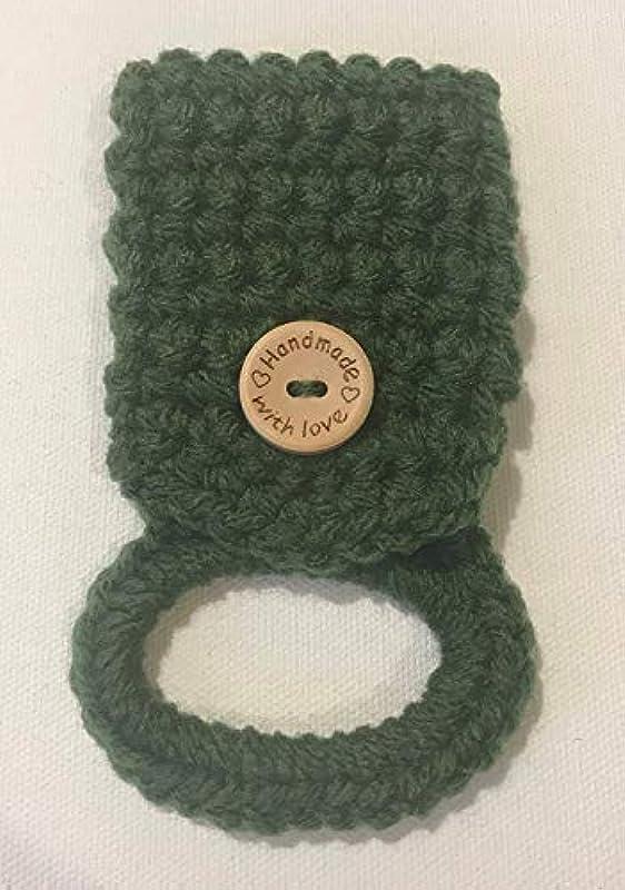 Green Crochet Hanging Dish Towel Holder