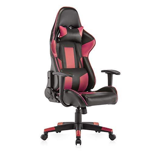 YAMASORO Gaming Stuhl Bürostuhl Ergonomischer Schreibtischstuhl mit hoher Rückenlehne PU-Leder Gaming Chair Verstellbarer Drehstuhl mit Kopfstütze und Lendenstütze