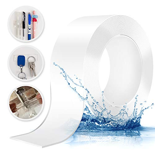0.08 Inch Thick Nano Tape Traceless Transparent Washable and Reusable Double Sided Adhesive Tape High Temperature Resistant Soft Material High Viscosity Mounting Solid Gel 1 Roll (T2W50L5000-1 roll)
