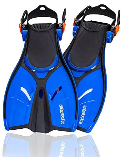 AQUAZON Style Verstellbare Flossen, Schnorchelflossen, Taucherflossen, Schwimmflossen für Mädchen und Damen zum Schnorcheln, Schwimmen, Farbe:Blue, Größe:38/41