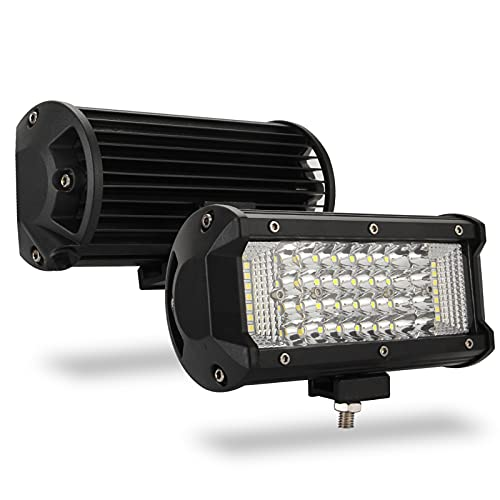 LED Pods Lights 180W 7 pulgadas Barras de luz LED Spot Beam Luces de conducción todoterreno Luces de trabajo LED impermeables Luces antiniebla LED cuadradas para camión ATV UTV Coche, 2 piezas