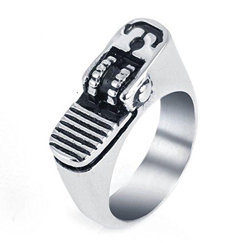 Aeici Titan Ring Herren Punk 316L Edelstahl Feuerzeug Ring Persönlichkeit Silber Breit 2.35Cm Größe 60 (19.1)