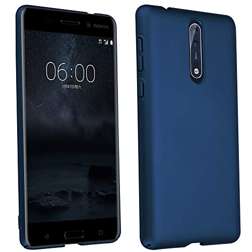 Cadorabo Hülle für Nokia 8 2017 - Hülle in Metall BLAU – Hardcase Handyhülle im Matt Metal Design - Schutzhülle Bumper Back Hülle Cover