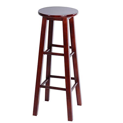 JIEER-C leerstoel barkruk massief houten kruk keuken ontbijtstoel ronde zitting draagkracht 300kg zithoogte 50/60/70cm multicolor optioneel (kleur: bruin, maat: 50cm) 70CM bruin