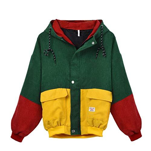KIMODO Damen Bekleidung Coats Damen, Kimodo Neu Frauen Langarm Cord Patchwork Oversize Jacke Windbreaker Mantel (Gelb, XL)