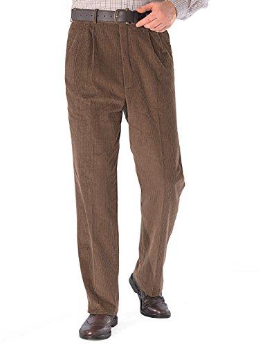 Chums Hochhaarige Verstellbare Bundfaltenhose Aus Luxuriöser Baumwolle Für Herren Braun UK 38/EU 54 x Kurz - 74cm (29 Inch)
