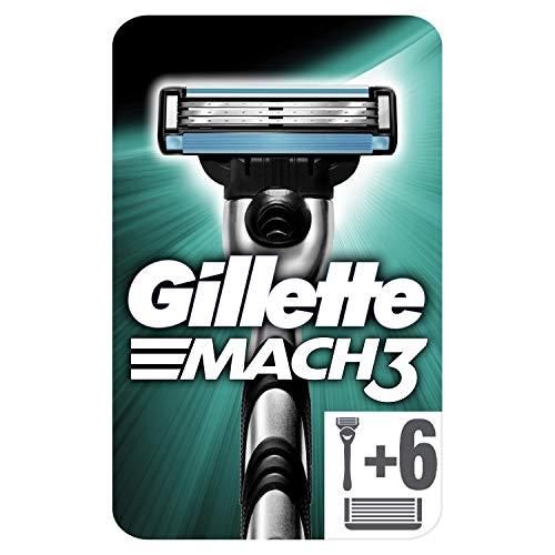 Gillette Mach3 Rasoir Homme Dotés de Lames Plus Résistantes Que L'acier + 6 Lames de Recharges [OFFICIEL]