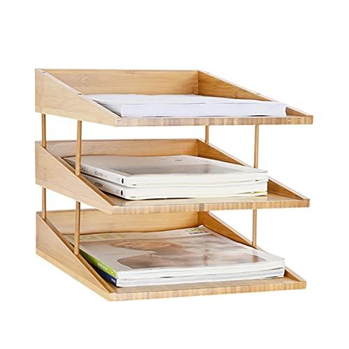Binn Soporte Libros Bookbel de bambú Vertical, Caja de Almacenamiento de Carpeta de Papel A4, Estante de Almacenamiento de Escritorio de Oficina Decorativos (tamaño : 3 Tiers)