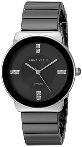 Anne Klein Women's AK/2715BKSV Diamond-Accented Silver-Tone and Black Ceramic Bracelet Watch