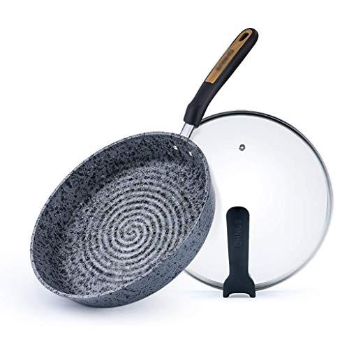 Antiadhésives Sauteuse Couvert avec couvercle en verre trempé - grande capacité for Sauté Friture ou Casserole - Non Stick Saute et Frying Pan JIAMING