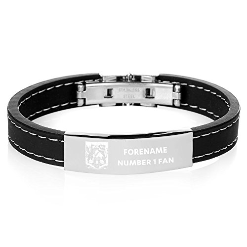 Personalised Official Northampton Town FC Steel & Rubber Bracelet