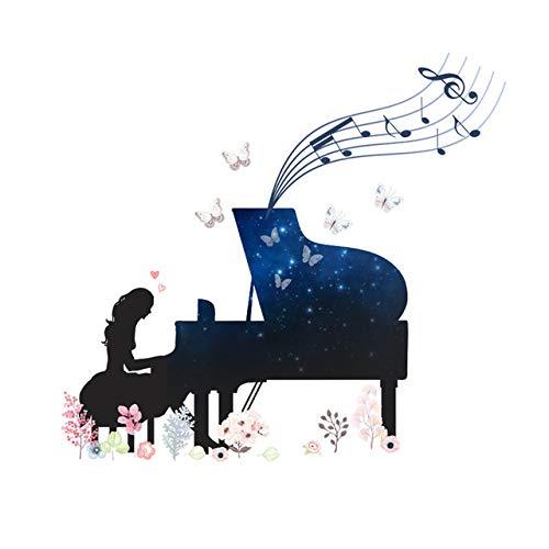 N/A muursticker voor meisjes, cartoon-spel, motief paardenbloem hert vlinder 71x77cm Kleur: zwart/bruin,