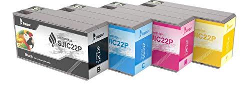 Sostituzione BIGGER per cartucce d'inchiostro Epson TM-C3500 SJIC22P utilizzate con la stampante a getto d'inchiostro a colori per etichette seriali Epson ColorWorks TM-C3500 (confezione da 4)