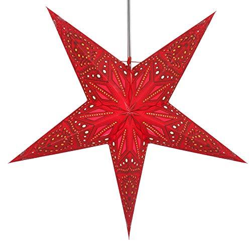 Guru-Shop Faltbarer Advents Leucht Papierstern, Weihnachtsstern 60 cm - Dadari Rot, Star Fensterdeko, 7 Spitzen