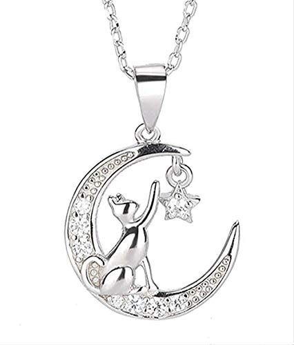 FACAIBA Necklace Woman Man Women S Necklace S925 Silver Simple Temperament Moon Cat Necklace Zircon Pendant Clavicle Chain Women S Fashion Hundred Necklace Jewelry Gifts