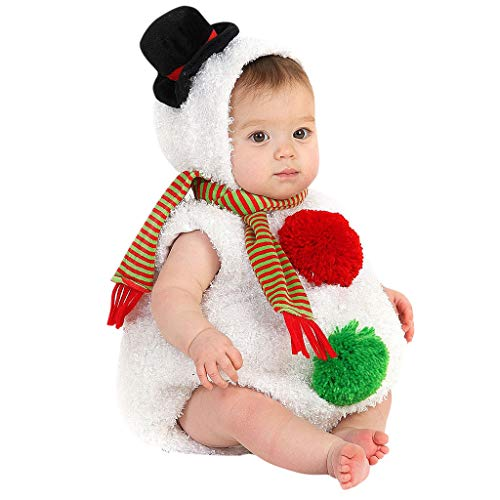 Aimik Christmas Baby Outfit Sets, Xmas Santa Snowman Newborn Infant Reindeer Romper Jumpsuit Cosplay Costume Set, Modelling Fleece Romper Scarf Sets for 0-24 Months (0-6 Months, White)