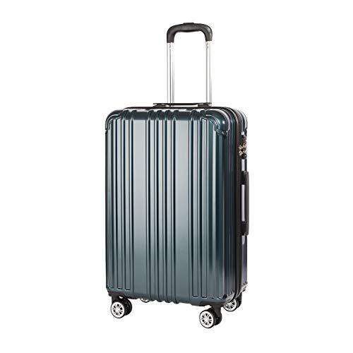 COOLIFE Hartschalen-Koffer Rollkoffer Reisekoffer Vergrößerbares Gepäck (Nur Großer Koffer Erweiterbar) PC+ABS Material mit TSA-Schloss und 4 Rollen (Blaugrün, Großer Koffer)