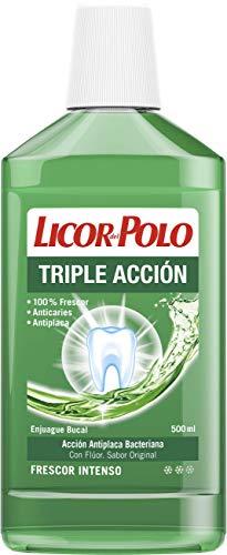Licor Del Polo - Enjuague Bucal Triple Acción - Antiplaca, Acción Antiplaca Bacteriana, Frescor intenso, 500 ml