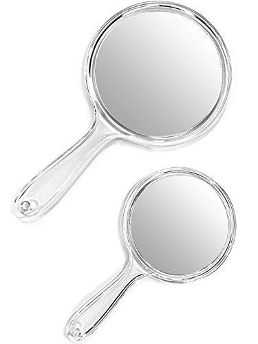 OMIRO Lot de 2 miroirs à main double face grossissant 1X/3X avec poignée Transparent
