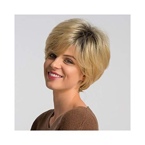 Perruques Femme XXYHYQHJD Perruque Synthétique 6 Pouces Mix de Cheveux Humains for Les Femmes Ombre Blonde De La Mode Pixie Cut Cosplay Perruque De Fête
