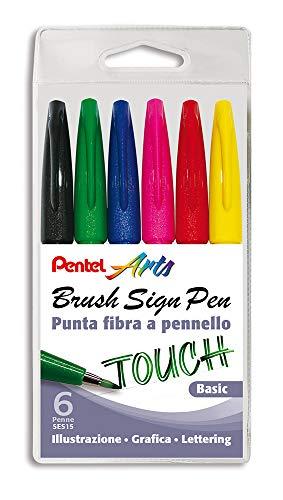 Pentel SES15C Brush Sign Pen pennarello punta fibra flessibile 6 pz colori basic