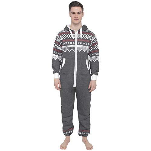 Juicy Trendz® Herren Onesie Overall Trainingsanzug Jogginganzug Einteiler Muster Jumpsuit, Charcoal-red, L