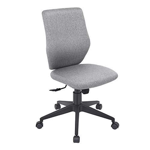 Bowthy Armless Office Chair Ergonomic Computer Task Desk Chair Without Arms Mid Back Fabric Swivel Chair (Gray)