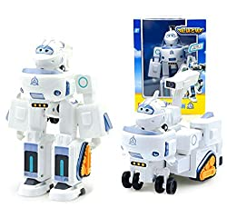 """Collect all of your favorite Super Wings team heroes for new adventures across the world! This toy includes a mini airplane and an engineering vehicle. Together they can be transformed into a robot. Size 18CM. The 7 """"Transforming Toy is designed for ..."""