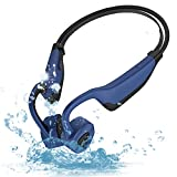 Swimming Bone Conduction Headphones Waterproof Mp3 Player- Open Ear Sport Wireless Bluetooth 5.0 Earphones for Diving Headset for Underwater Running Gym Cycling 16GB (Style 1_Blue)