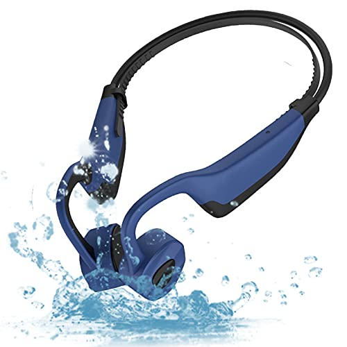 Waterproof Bone Conduction Headphones for Swimming, MP3 Player Wireless Sport Earphones IPX8 Open-Ear Built-in 8GB Flash Memory for Running, Diving Water, Gym, Spa (Blue)