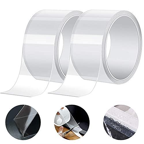 Gebildet 3m × 5cm PVC Impermeabile Striscia Sigillante per Cucina e Bagno, Acrilico Nastro Adesivo Sigillante Antimuffa, a Prova di Muffa Nastro di Tenuta (Confezione da 2, Trasparente)