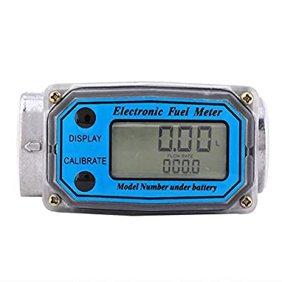 "fosa Turbine Flowmeter Mini Digital Turbine Flow Meter 15-120L 1"" NPT, Portable Lightweight Diesel Fuel Flow Meter with HD Display for Output Modules/Sensors/Remote Transmitters"