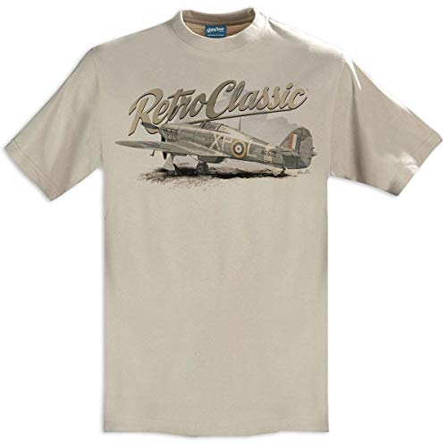 RetroClassic Herren T-Shirt World War II Hawker Hurricane Fighter Aircraft Gr. XXL, sand