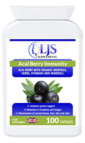 LJS Supplements Acia Berry Immunity - for Healthy Bones, Hair, Skin and Nails - Suitable for Slimmers, Diabetics - Made in UK.