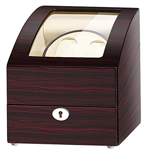 JQUEEN Automatic Double Watch Winder with 3 storages Case for All Automatic Watches