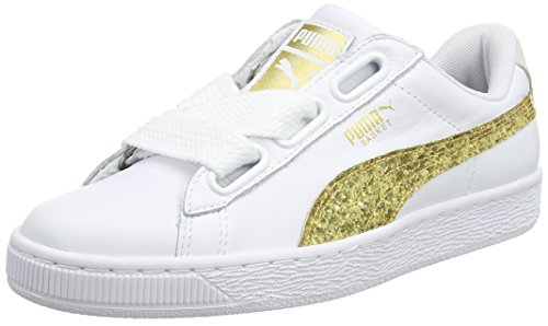 PUMA Damen Basket Heart Glitter Sneaker, Weiß (White-Gold), 40 EU