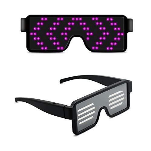 LumiSyne Gafas LED Fiesta Inalámbricos USB Recargable 11 Patrones Dinámicos Gafas De Luminosas LED Luz Gafas Bars Cumpleaños Halloween Carnaval