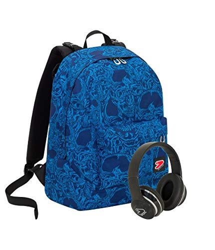 Zaino SEVEN THE DOUBLE - CROWDY - Blu - Cuffie wireless - 2 zaini in 1 REVERSIBILE