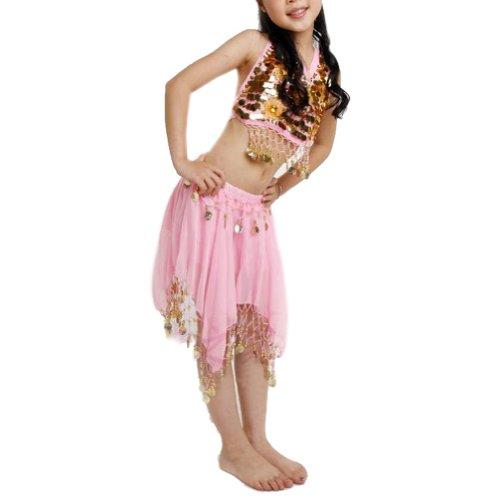 TOPTIE Kid's Tribal Belly Dance Girl Skirt & Halter Top Set, Halloween Costumes-Pink-M