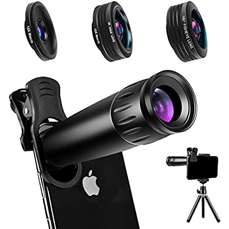 LIERONT Phone Camera Lens Kit 5 in 1: 25X Telephoto Lens 210/° Fisheye Lens Compatible with iPhone 11 10 8 7 6 6s Plus X XS XR Samsung 0.62X Wide Angle Lens /& 25X Macro Lens