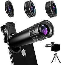 Phone Camera Lens Phone Lens 22X Telephoto Lens, 4K HD 0.67X Super Wide Angle Lens&25X Macro Lens, 205° Fisheye Lens, Work...
