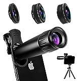 Phone Camera Lens Phone Lens 22X Telephoto Lens, 4K HD 0.67X Super Wide Angle Lens&25X Macro Lens, 205° Fisheye Lens, Work as Telescope with Metal Tripod
