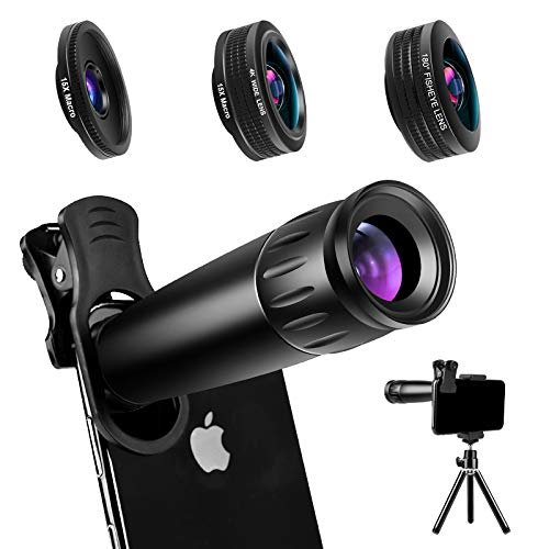 commercial Phone Camera Lens Phone Lens 22X Telephoto Lens, 4K HD 0.67X Super Wide Angle, 25X Macro Lens … wide angle phone lenses