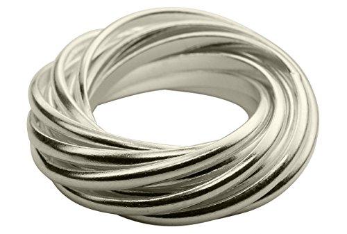 SILBERMOOS Ring Damenring Mehrfachring 12 Einzelringe glänzend Sterling Silber 925, Größe:62 (19.7)